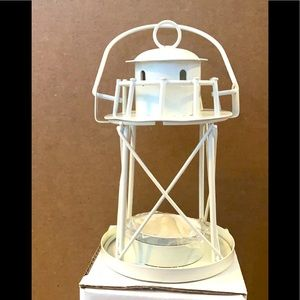 Off White 5 inch lighthouse with votive candle